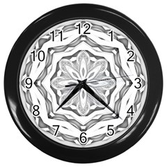Mandala Pattern Floral Wall Clocks (black)