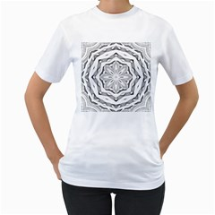 Mandala Pattern Floral Women s T Shirt (white)