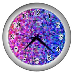 Triangle Tile Mosaic Pattern Wall Clocks (silver)