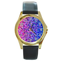 Triangle Tile Mosaic Pattern Round Gold Metal Watch