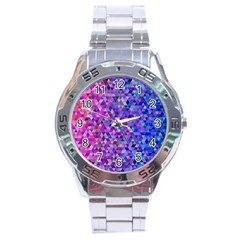 Triangle Tile Mosaic Pattern Stainless Steel Analogue Watch