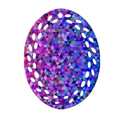 Triangle Tile Mosaic Pattern Oval Filigree Ornament (two Sides)