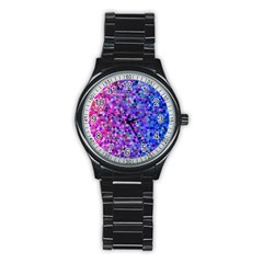 Triangle Tile Mosaic Pattern Stainless Steel Round Watch