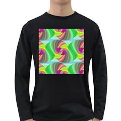 Seamless Pattern Twirl Spiral Long Sleeve Dark T Shirts