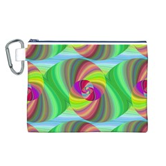 Seamless Pattern Twirl Spiral Canvas Cosmetic Bag (l)