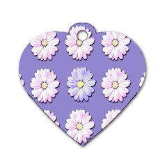 Daisy Flowers Wild Flowers Bloom Dog Tag Heart (one Side)