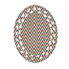 Chevron Retro Pattern Vintage Oval Filigree Ornament (two Sides)