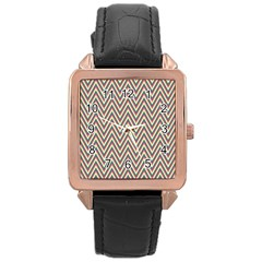 Chevron Retro Pattern Vintage Rose Gold Leather Watch