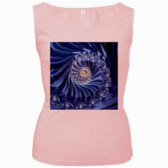Blue Fractal Abstract Spiral Women s Pink Tank Top