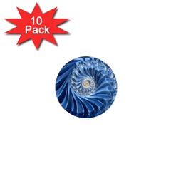Blue Fractal Abstract Spiral 1  Mini Magnet (10 Pack)