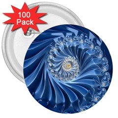 Blue Fractal Abstract Spiral 3  Buttons (100 Pack)