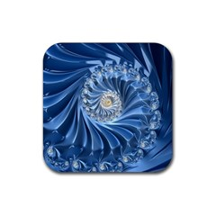 Blue Fractal Abstract Spiral Rubber Coaster (square)