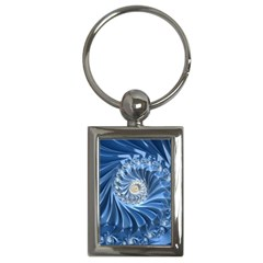Blue Fractal Abstract Spiral Key Chains (rectangle)