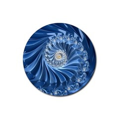 Blue Fractal Abstract Spiral Rubber Coaster (round)