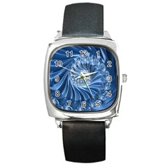 Blue Fractal Abstract Spiral Square Metal Watch