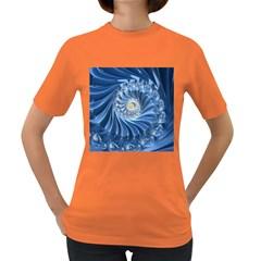Blue Fractal Abstract Spiral Women s Dark T Shirt