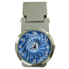 Blue Fractal Abstract Spiral Money Clip Watches
