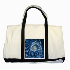 Blue Fractal Abstract Spiral Two Tone Tote Bag
