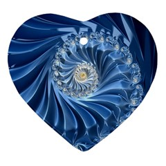 Blue Fractal Abstract Spiral Heart Ornament (two Sides)