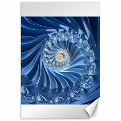 Blue Fractal Abstract Spiral Canvas 20  X 30