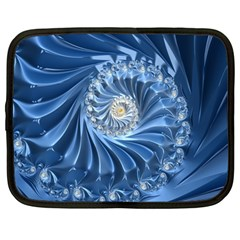 Blue Fractal Abstract Spiral Netbook Case (large)