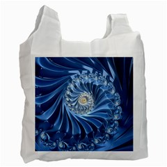Blue Fractal Abstract Spiral Recycle Bag (one Side)