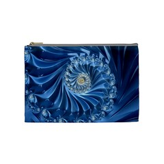 Blue Fractal Abstract Spiral Cosmetic Bag (medium)