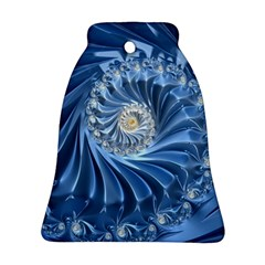 Blue Fractal Abstract Spiral Bell Ornament (two Sides)