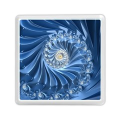 Blue Fractal Abstract Spiral Memory Card Reader (square)