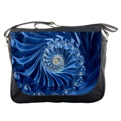 Blue Fractal Abstract Spiral Messenger Bags