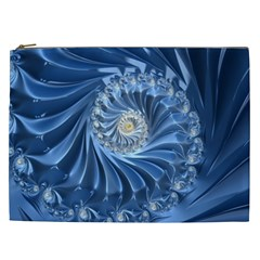 Blue Fractal Abstract Spiral Cosmetic Bag (xxl)