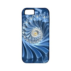 Blue Fractal Abstract Spiral Apple Iphone 5 Classic Hardshell Case (pc+silicone)