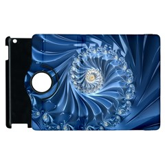 Blue Fractal Abstract Spiral Apple Ipad 2 Flip 360 Case