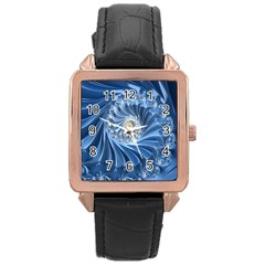 Blue Fractal Abstract Spiral Rose Gold Leather Watch