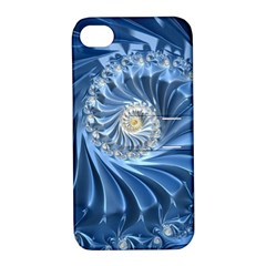 Blue Fractal Abstract Spiral Apple Iphone 4/4s Hardshell Case With Stand