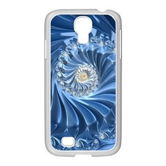 Blue Fractal Abstract Spiral Samsung Galaxy S4 I9500/ I9505 Case (white)
