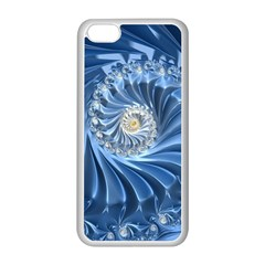 Blue Fractal Abstract Spiral Apple Iphone 5c Seamless Case (white)