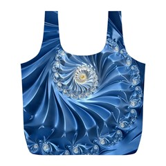 Blue Fractal Abstract Spiral Full Print Recycle Bags (l)