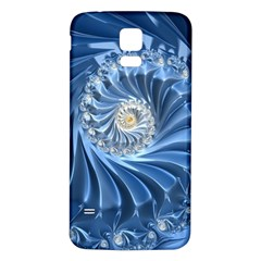 Blue Fractal Abstract Spiral Samsung Galaxy S5 Back Case (white)