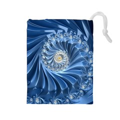 Blue Fractal Abstract Spiral Drawstring Pouches (large)
