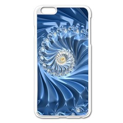 Blue Fractal Abstract Spiral Apple Iphone 6 Plus/6s Plus Enamel White Case
