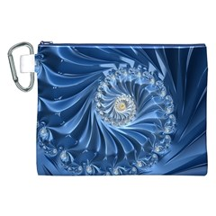 Blue Fractal Abstract Spiral Canvas Cosmetic Bag (xxl)