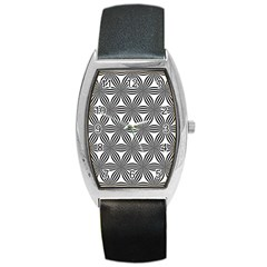 Seamless Pattern Repeat Line Barrel Style Metal Watch