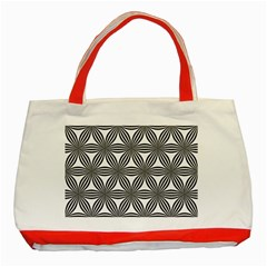 Seamless Pattern Repeat Line Classic Tote Bag (red)