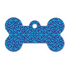 Monogram Blue Purple Background Dog Tag Bone (two Sides)