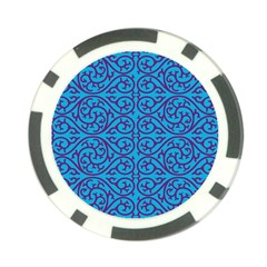 Monogram Blue Purple Background Poker Chip Card Guard
