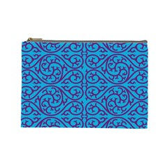 Monogram Blue Purple Background Cosmetic Bag (large)