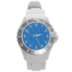 Monogram Blue Purple Background Round Plastic Sport Watch (l)