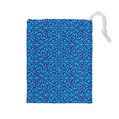 Monogram Blue Purple Background Drawstring Pouches (large)
