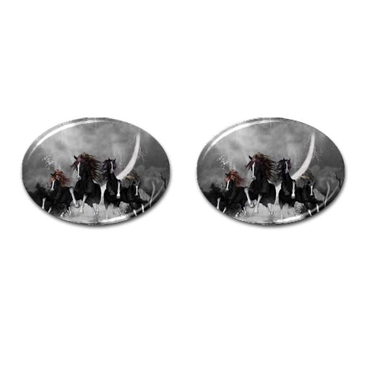 Awesome Wild Black Horses Running In The Night Cufflinks (Oval)